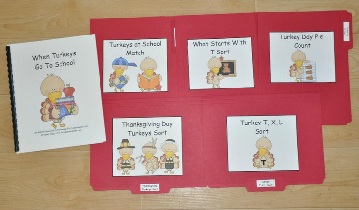 When Turkeys Go To School Theme--Fun Thanksgiving themed story and associated file folder games and activity mats.