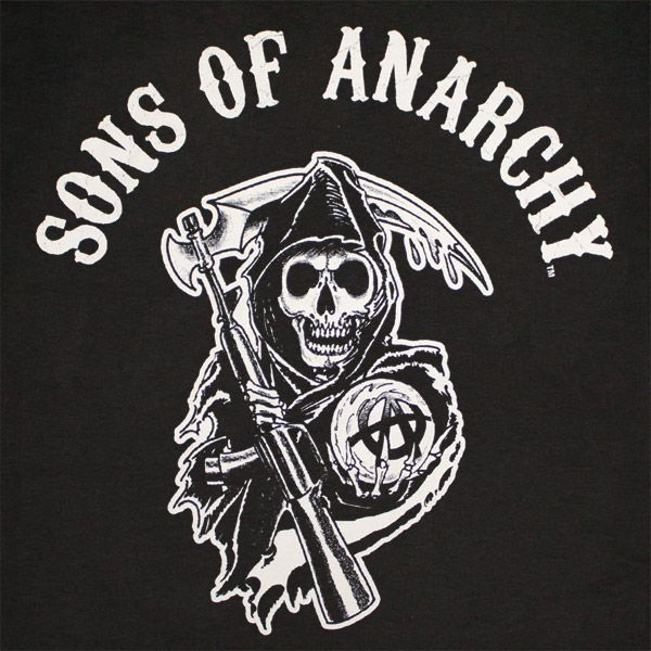 sons of anarchy logos   Home // Shirts // Sons Of Anarchy Reaper Arch Logo Black Graphic ...