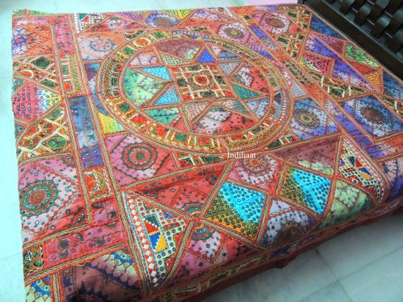 Indian BedspreadBeddingEmbroidered BedcoverKutch Embroidery Patchwork BedspreadIndian