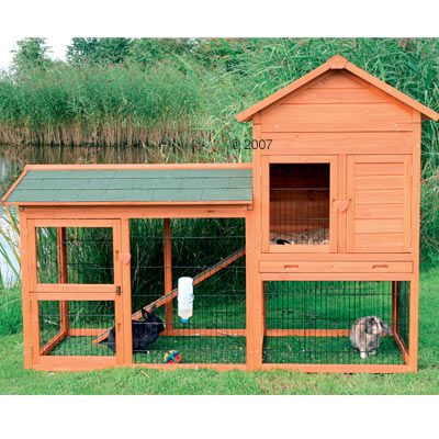 This unique two-story rabbit hutch with gabled roof is ideal for groups of small…