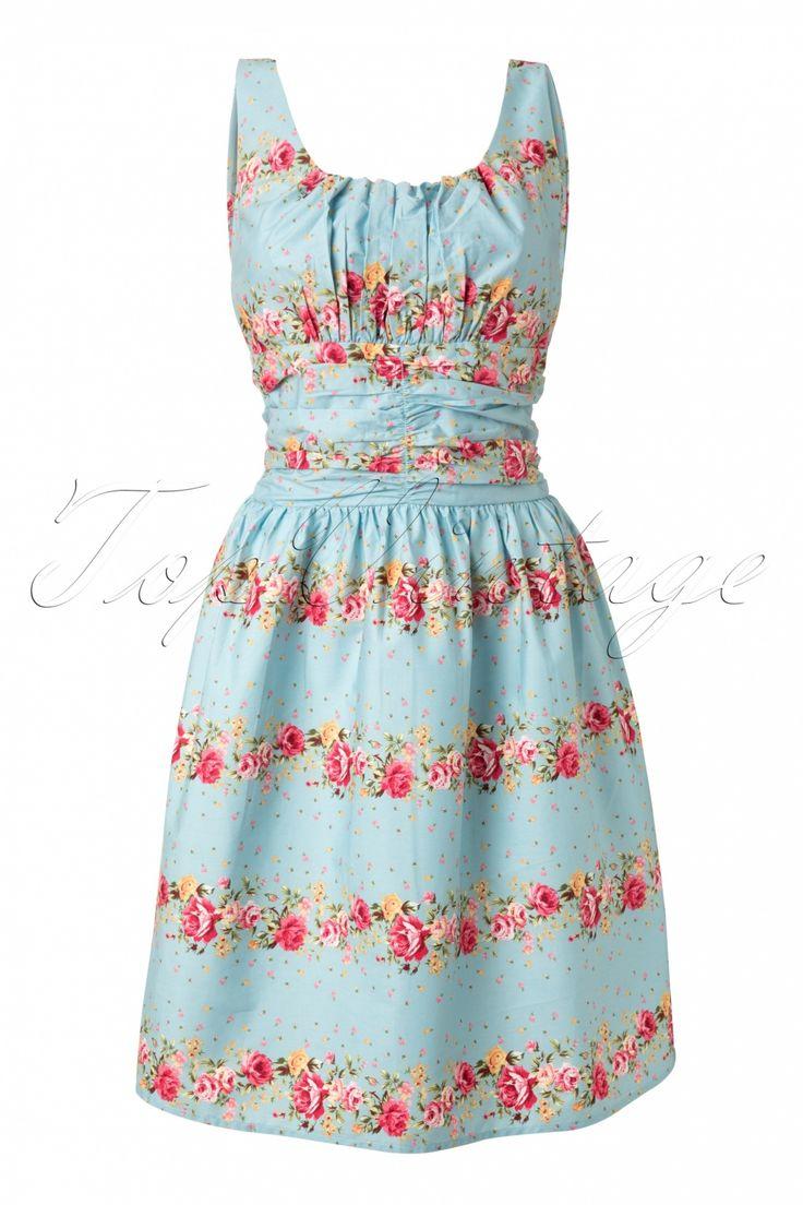 Vixen 50s Heavenly Floral Dress Blue Flowers Make You