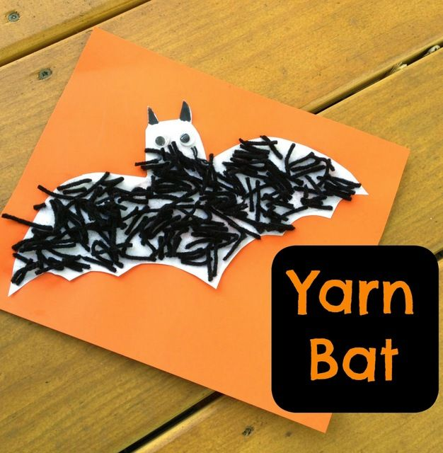 03-yarn bat - 10 Easy Halloween Bat Crafts for Kids - Bats Art Projects, Toilets Paper Roll Bats, Foam Bats. Hang around the house as October is Bat Appreciation Month