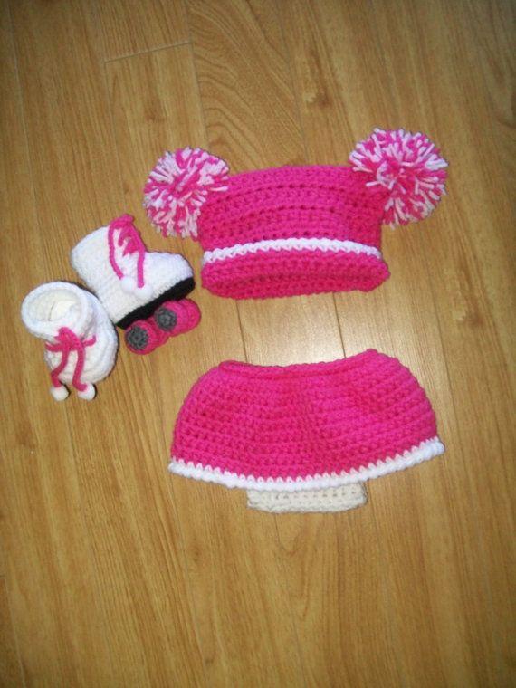 Baby Roller skate Set - Crochet Baby skirts - Baby Hats - Crochet skirt sets - Baby prop Sets - Baby Shower Gifts - Girls crochet Skirts