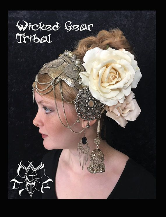Belly dance headdress headpiece tribal fusion by WickedGearTribal headwear wickedgeartribal.etsy.com belly dance costume theatre headwear