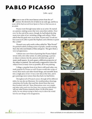 Worksheets: Pablo Picasso Biography