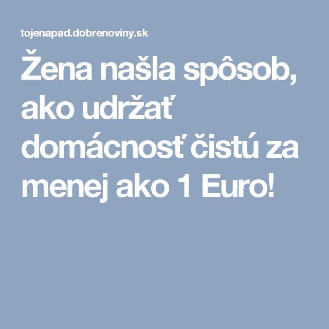 Žena našla spôsob, ako udržať domácnosť čistú za menej ako 1 Euro!