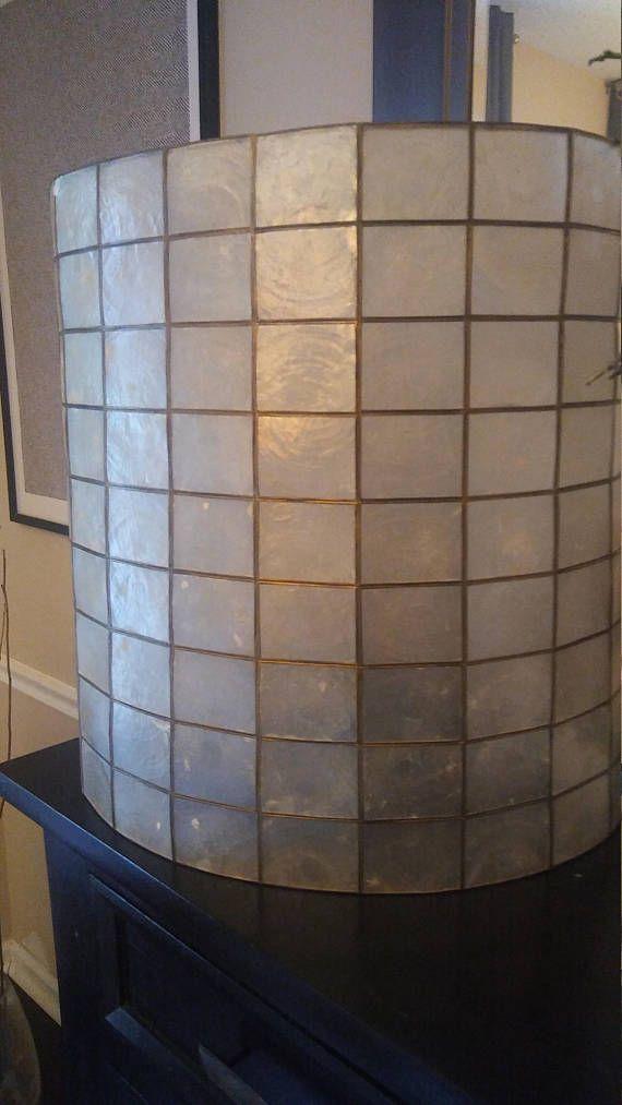 Huge Massive Vintage Mid Century Modern Capiz Shell Lamp Shade
