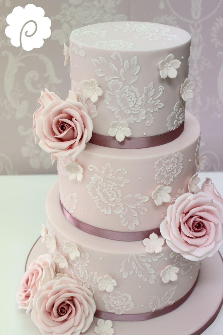 Vintage delicate brushwork lace look wedding cake. Soft mauve with sugar rose detail