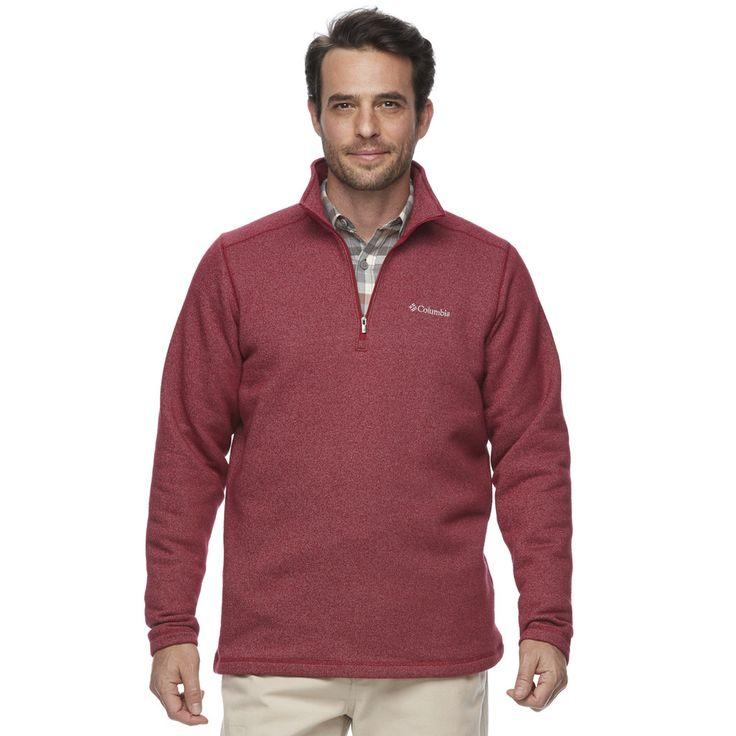 Men's Columbia Ortega Oaks Quarter-Zip Fleece Jacket, Size: Medium, Dark Red