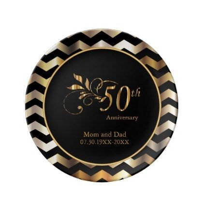 Black & Gold Chevron 50th Wedding Anniversary Porcelain Plate - personalize gift idea diy or cyo