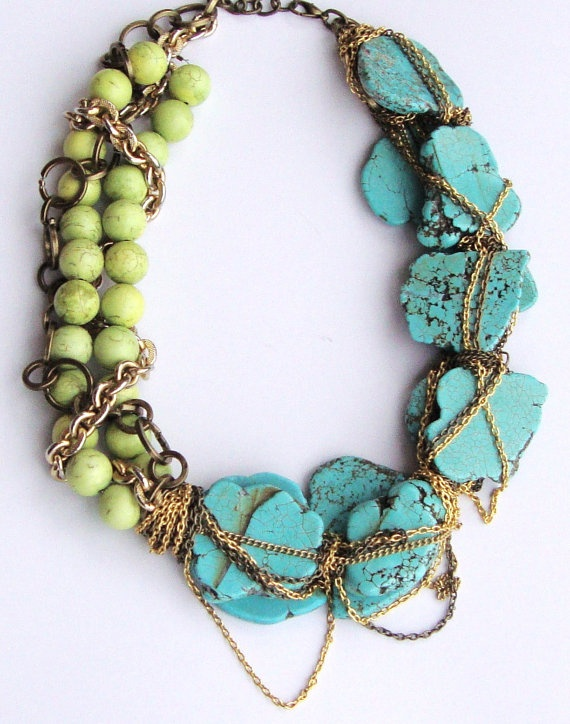 Theo- Turquoise and Chain Necklace.