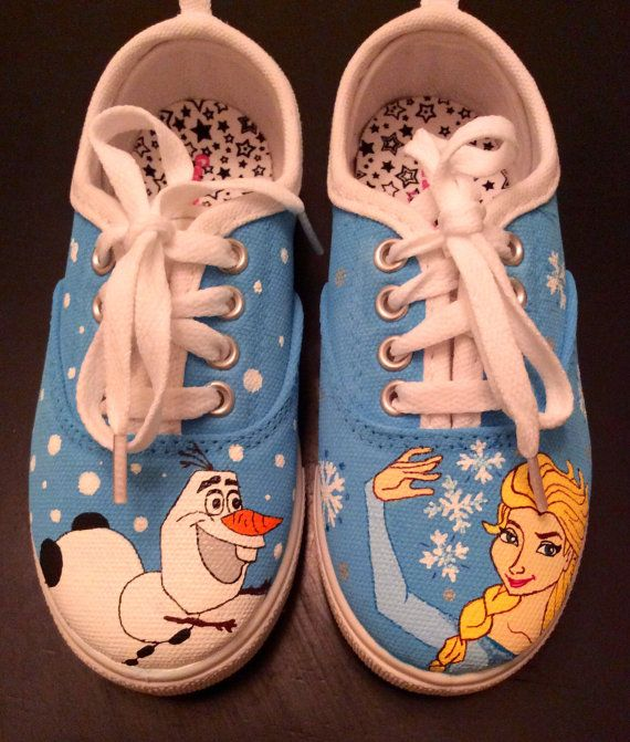 Frozen Hand Painted Sneakers by CustomShoesbySabrina, $49.00