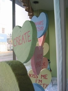"CANDY HEART WINDOW DISPLAY - I can also see this done with ""plates"" and ""paintbrushes""... ;)"