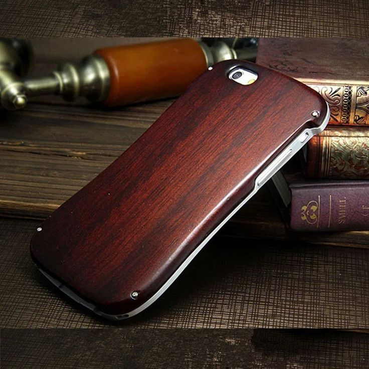 For IPhone 6 6S 5 5S SE Real Wood Case Neo Hybrid Aluminum Metal Frame + Wooden Back Cover