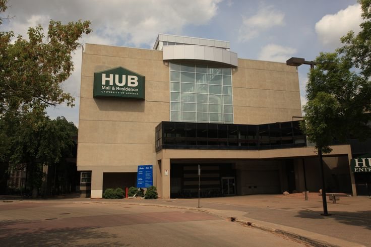 A view of HUB residence from the transit loop of North Campus.  This entrance at the south end of HUB connects directly to the Fine Arts Building as well as an LRT station.