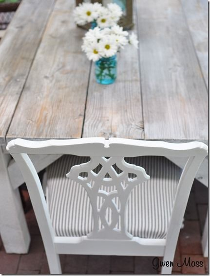Gwen Moss: Rustic table and ticking upholstered chairs