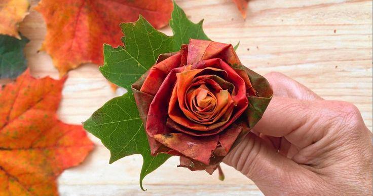 De finaste rosorna skapar du själv av löv som du hittar ute i naturen.