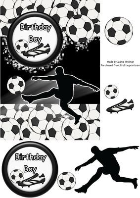 Football Mad - Birthday Boy.  Boys Football Card sheets now on sale at Craftsuprint. http://www.craftsuprint.com/card-making/step-by-steps/birthday/football-mad-birthday-boy.cfm