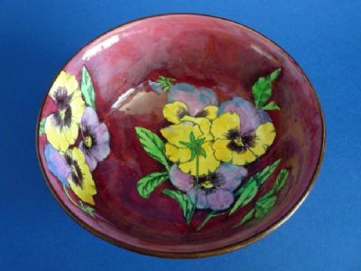 Royal Doulton 'Pansy - Mottled Ground' Winchester Bowl D6402 c1950
