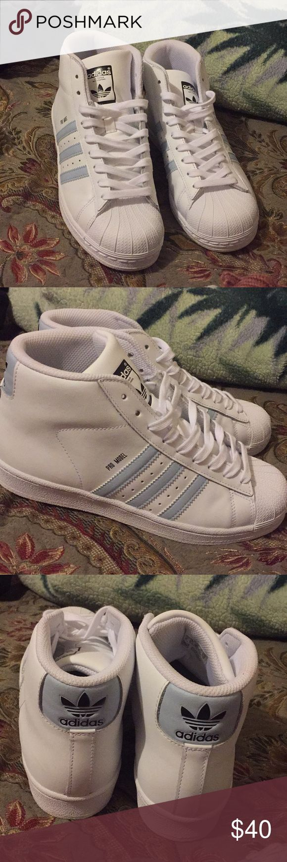adidas superstars pro model, high top adidas. i only wore these once, super cute shoe. size 6y but could fit 7 1/2 - 8 in women adidas Shoes Sneakers