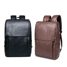 Mens Backpack Students Faux Leather School Bag Travel Stylish Business Rucksack