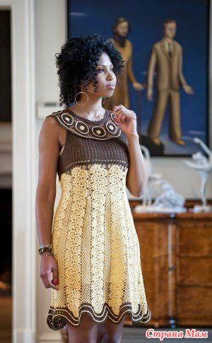 """Irish crochet &: Платье """" Белый и черный шоколад"""""""