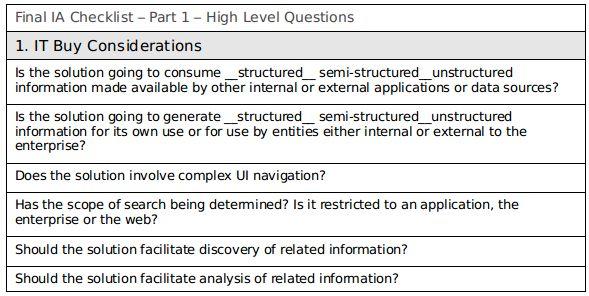 Building an Information Architecture Checklist