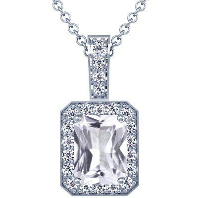 Platinum Emerald Cut White Sapphire And Round Diamond Pendant GemsNY. $3538.00. Save 50% Off!