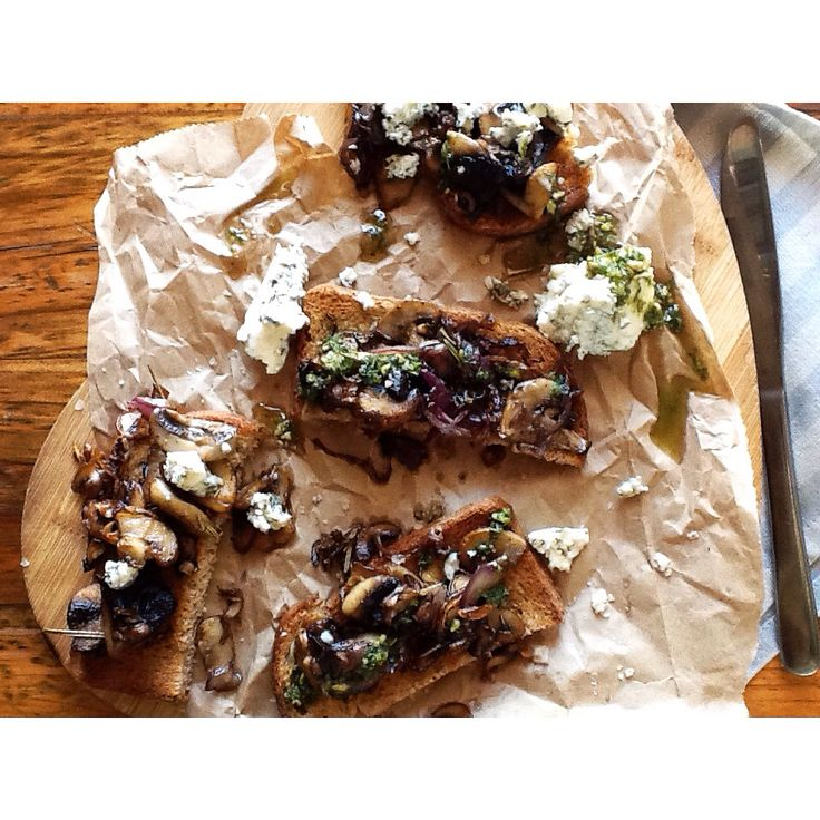 Mushrooms on toast. Lots of fresh garlic and thyme!
