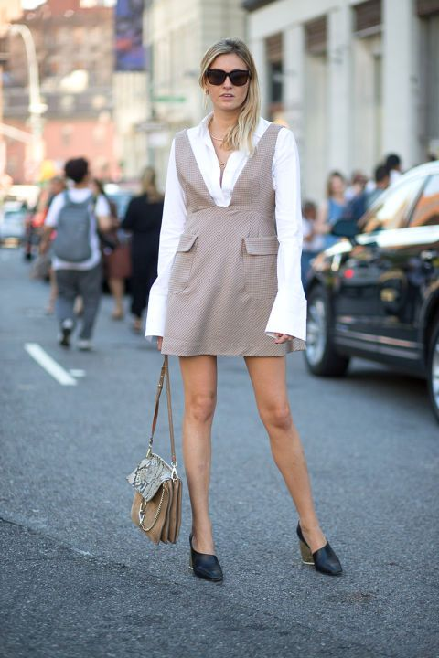 jumper-white oxford shirt-sleeves-bell sleeves-night to day dressing -fall neutrals-dorsay shoes-camille cherrier-nyfw-via-hbz