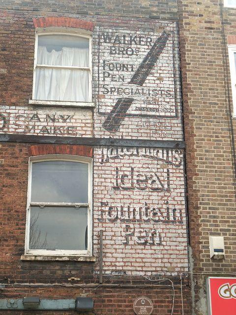Beautiful old fountain pen repair sign in Stoke Newington, London