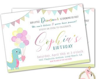 Dinosaur Birthday Invitation Girl 1st 2nd 3rd Or Any Age Dino Party Invites Printable Digital Download OR Printed
