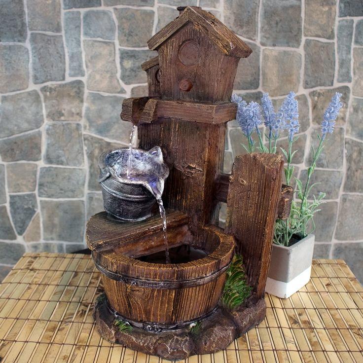 Sunnydaze Birdhouse & Silver Bucket Indoor Tabletop Water Fountain w/ LED Light, Tan (Polyresin)