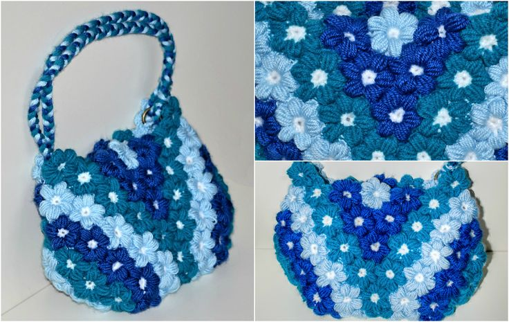 puff flower crochet hand bag
