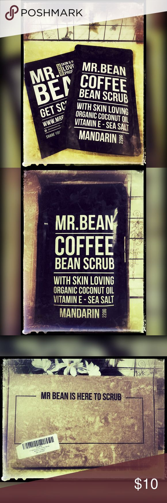 "Mrbean Organic Coffee Scrub-Mandarin Fab organic coffee scrub with Robusta coffee beans, organic cold pressed coconut oil, Himalayan pink rock salt, Demerera sugar, organic cacao and vit. E oil. ""I'm tough enough to improve your skins imperfections, yet leaving you feeling softer and smoother than ever."" If you haven't tried these yet, here is your chance at half price! Mr.Bean Body Care Makeup"