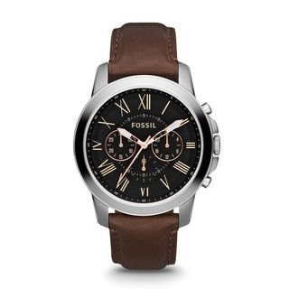 Fossil Men's FS4813 Grant Brown Leather Band Watch | Overstock.com Shopping - The Best Deals on Fossil Men's Watches - branded watches for mens, mens watches uk, mens watches for women