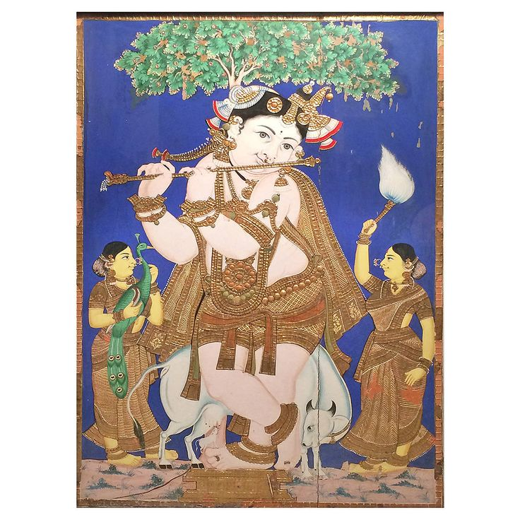 19th Century Indian Tanjore Painting of Young Krishna | From a unique collection of antique and modern paintings at https://www.1stdibs.com/furniture/wall-decorations/paintings/
