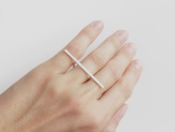 Minimalist Sterling Silver Bar Ring - Thin Band Ring - Dainty Line Ring