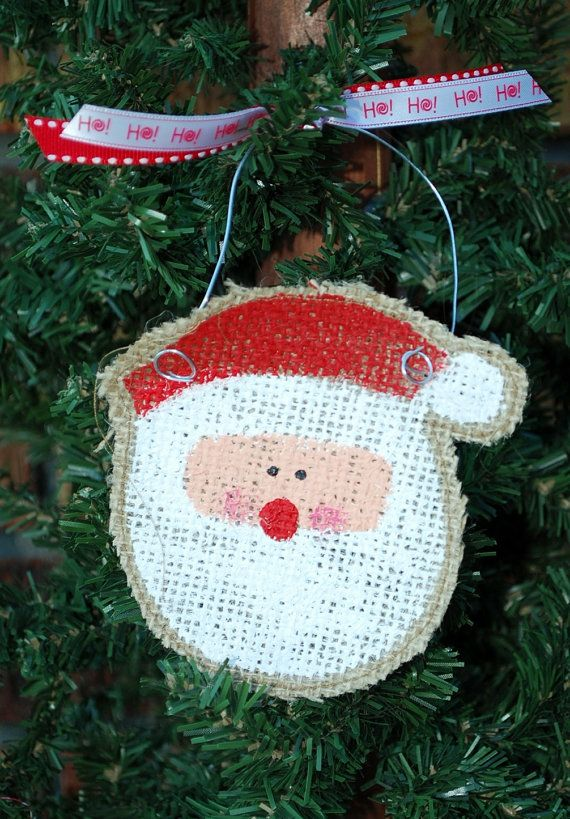Santa Burlap Hand Painted Christmas Ornament by annieslittlehouse, $8.00