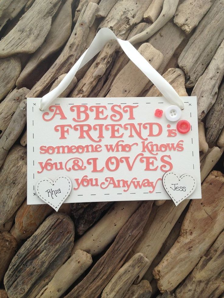 Best Friend Personalised Plaque Sign Personalised Hearts Ideal Gift Handmade