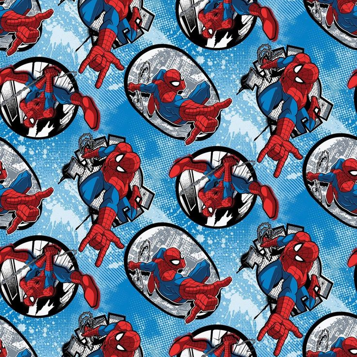 "Marvel Fabric - Marvel Comics Spiderman Fabric Badge Toss  100% cotton fabric by yard 36""x43"" (K32) by Angelfabric on Etsy"