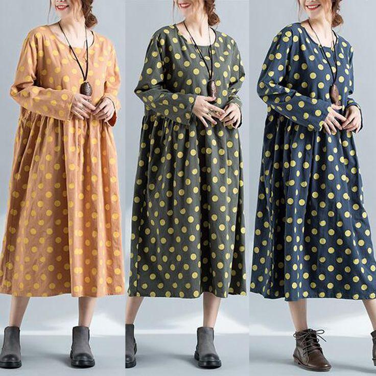 Casual Loose Women Long Sleeve Pockets Polka Dots Dress