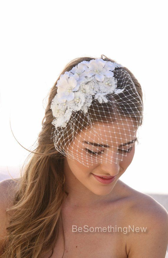 70a6e81b775b3 Birdcage Veil with Ivory Lace and Vintage Flower Petals and Small Pearls