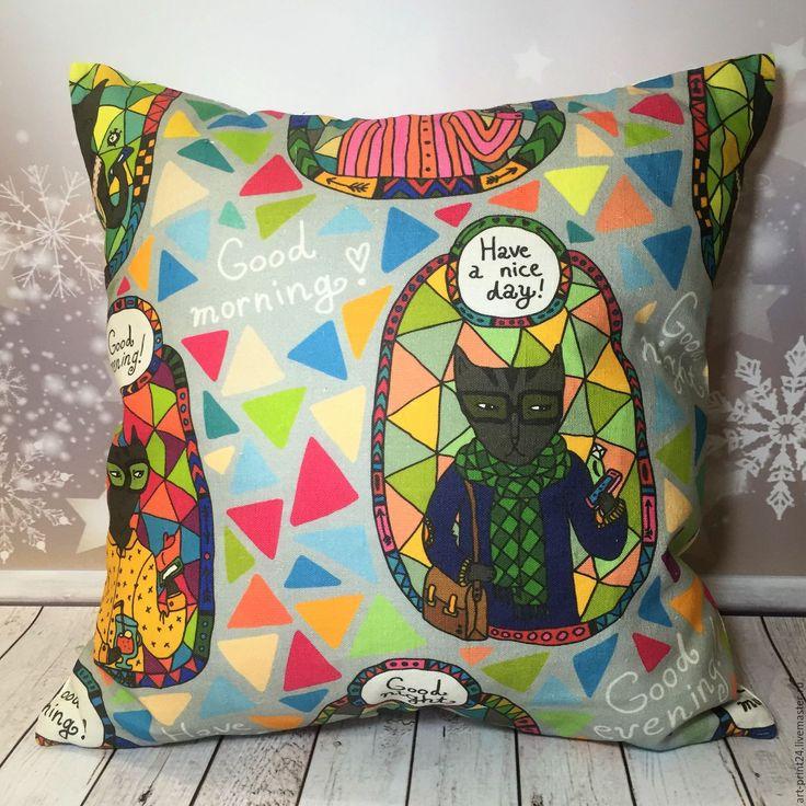 """Купить Подушка декоративная, серия """"Коты"""" - комбинированный, Подушки, подушки декоративные, подушки диванные"""