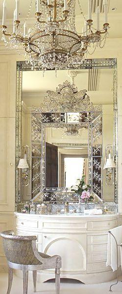 Bathroom Vanity  Single vanity, or double, vessel sinks made of crystal, shells, marble,  wood or stone. Stricking large mirrors that adorne metallic or mirror faced  bath tubs and boudoirs... this is bathroom vanity, and we love  it!//Meublelavabosimpleoudouble,vasquesfaitedecristaux,coquillages,marbre,boisoupierre.  Pittoresquegrandmiroirsqu'adornemétalliquesoumiroirfacebaignoiresetboudoirs...ils'agitdevanitéde  salle debain,etnousl'aimons!