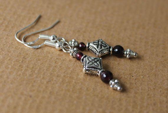 Garnet EarringsGarnet JewellerySilver Rhombus by myVardo on Etsy