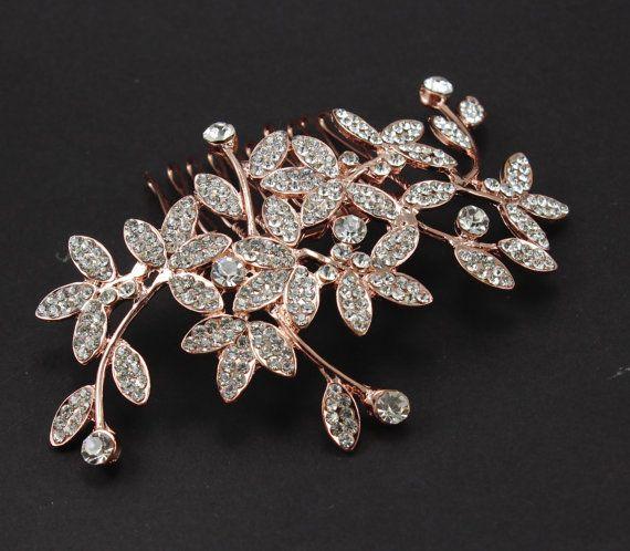 Rose gold Bridal hair piece Bridal comb Wedding comb Wedding hair accessories  Pearl hair comb Rhinestone comb crystals  Bridesmaids comb