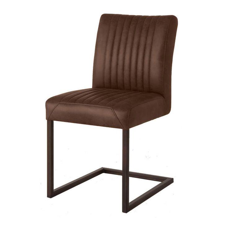 Stoel Ferro donkerbruin  Description: De Eetkamerstoel Ferro donkerbruin van het eigentijdse merk Towerliving is een moderne stoel met een vintage-uitstraling. De stoel bestaat uit een in verticale lijnen gestikt lederlook gestoffeerd gedeelte. Het onderstel bestaat uit een metalen frame uitéén stuk waarop het zitgedeelte is bevestigd. De comfortabele Ferro eetkamerstoel Lichtbruin is geschikt voor lang natafelen en past uitstekend in een modern en retro-interieur. De stoel is 88 cm hoog en…