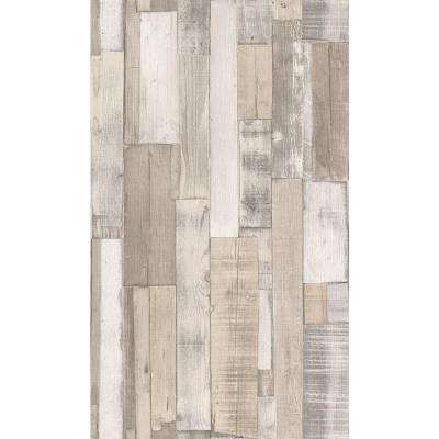 56 sq. ft. Distressed White Faux Wood Slats Vinyl Wallpaper