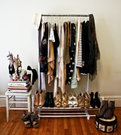 Great Minimal Closet  Everything On One Rolling Rack.